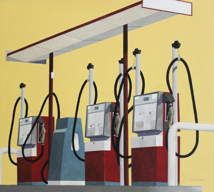 """Three Gas Pumps"" painting by Shawn Huckins - view is from right-view descending. Three brick red fuel dispensers at slight angle with their black pumps still tacked up. They rest on a blue-grey platform. Unused"